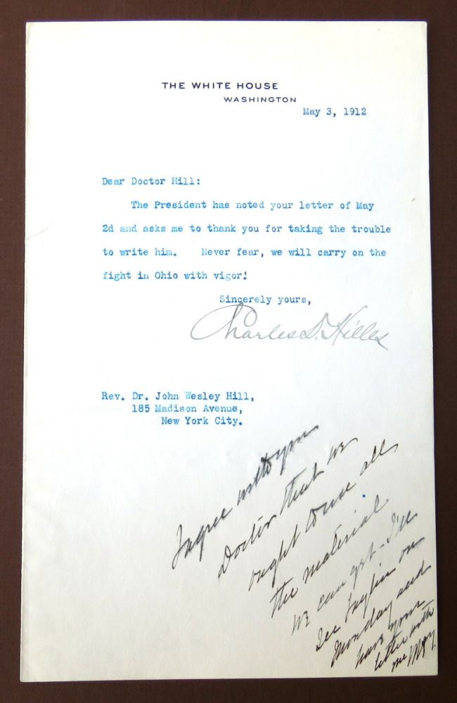 TNS Secretarial Signed and HNS on Same; Political Constituent Exchange. William Howard Taft, Charles D. Hilles.