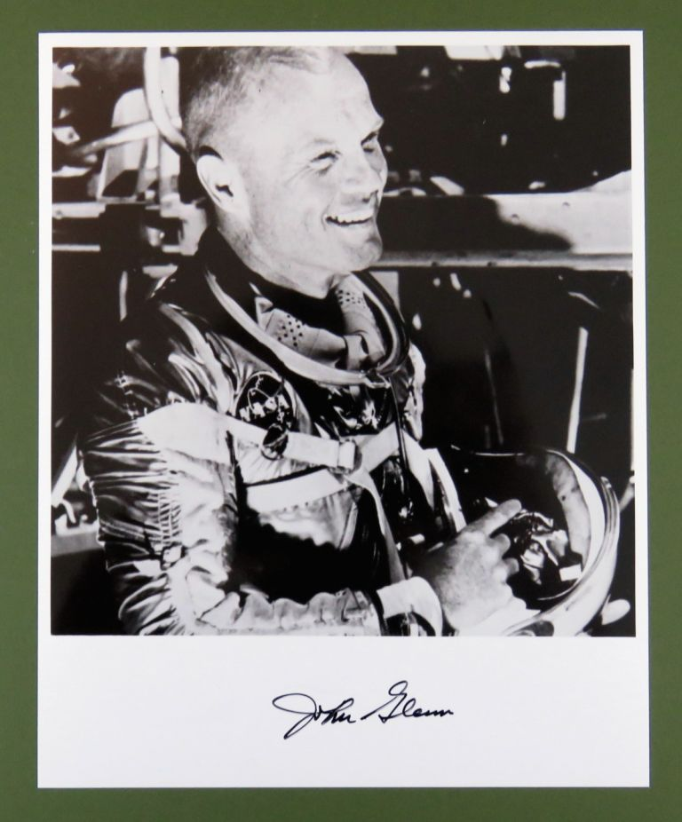 Signed Photograph in Astronaut Gear. John Glenn.