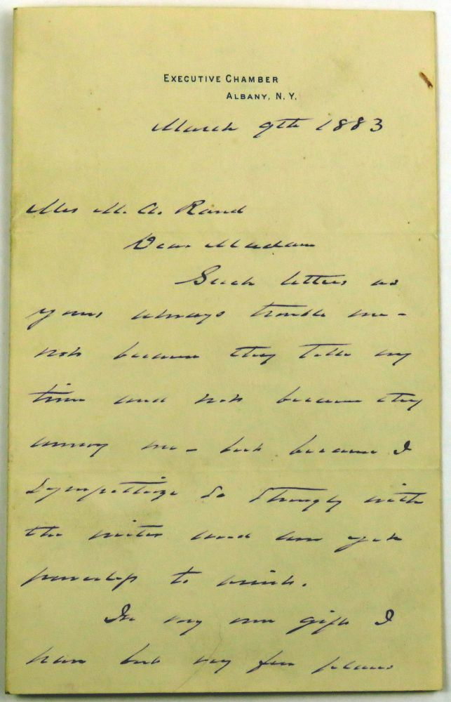 ALS; Personal Letter of Sincere Empathy. Grover Cleveland.