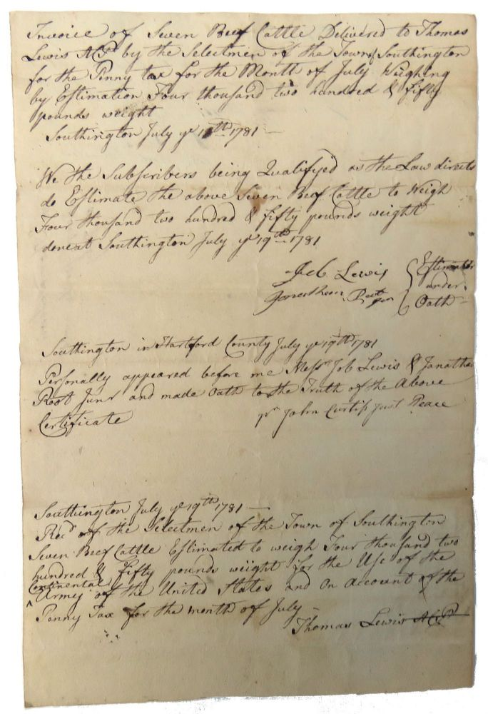 Manuscript Revolutionary War Sworn Statement; Reference Receipt for Seven Beef Cattle for Use of the Continental Army at Southington, CT. Thomas Lewis.