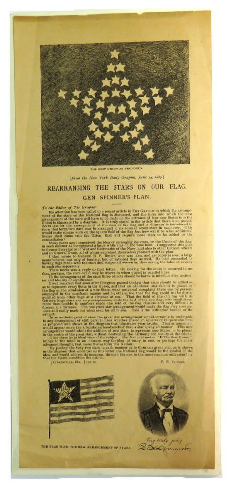 Broadside. The New Union As Proposed. Rearranging the Stars on Our Flag. Gen. Spinner's Plan; Reprint from New York DAily Graphic, June 24, 1889. F. E. Spinner, Francis Elias.
