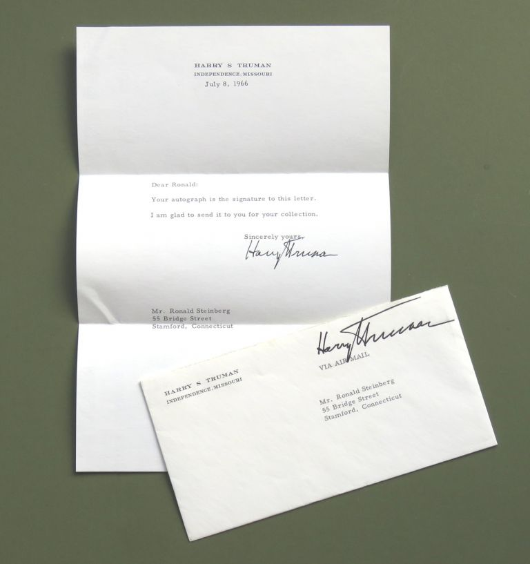 Typed Note Signed. Harry Truman.
