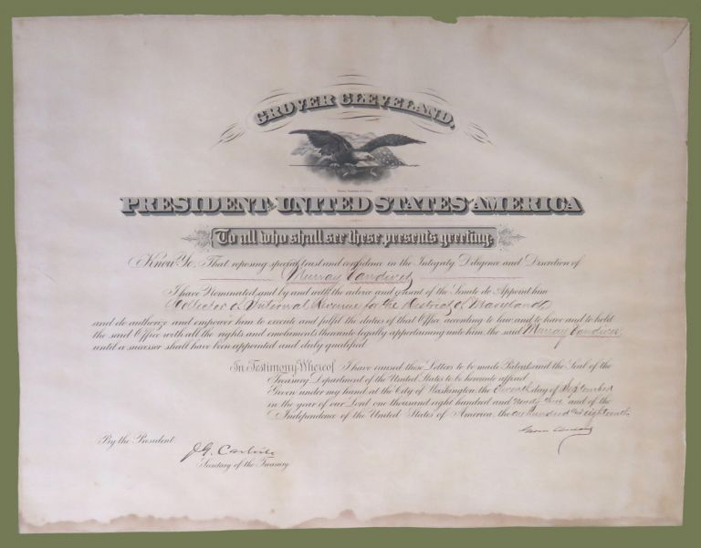 Signed Revenue Appointment. Grover Cleveland.