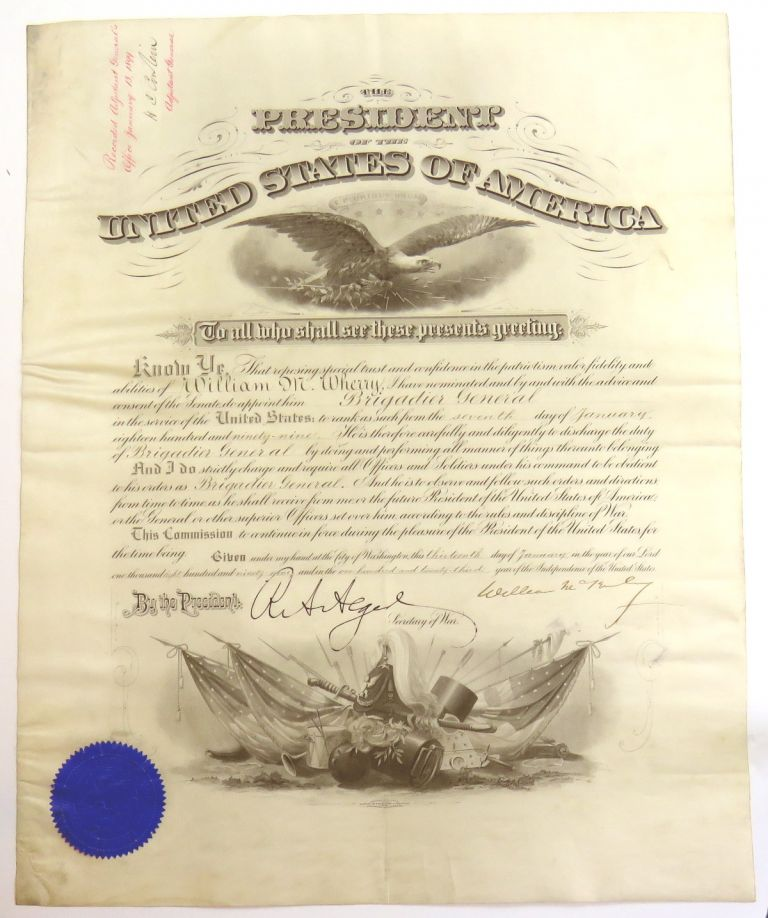 Engraved Document Singed; Appointment of Civil War Medal of Honor Winner to Brigadier General. William McKinley.