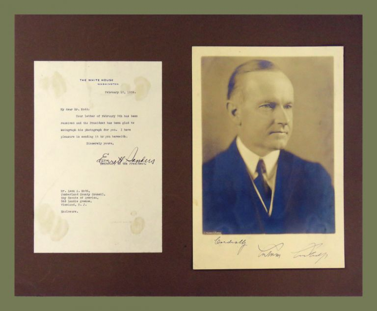 Photograph Signed with Secretarial TLS. Calvin Coolidge.