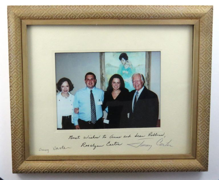 Color Photograph Signed. Jimmy Carter, Rosalynn and Amy.