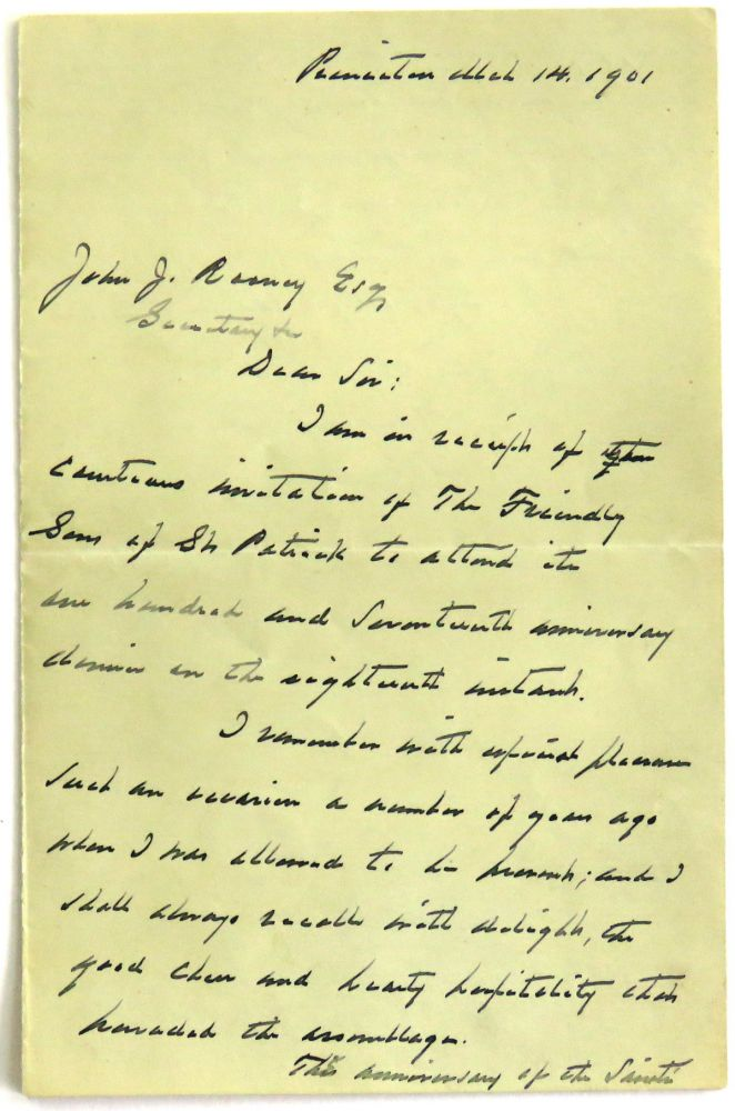 Autographed Letter Signed. Grover Cleveland.