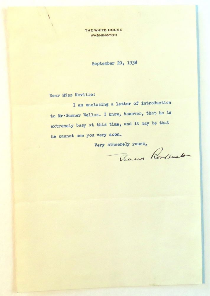 Typed Letter Signed with Secretarial Copy. Eleanor Roosevelt.