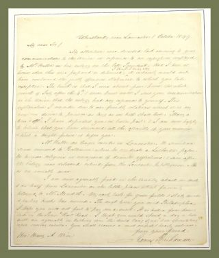 "Autograph Letter Signed; Making Amends for Insulting Reference to Henry Wise in the ""Democratic Union"" James Buchanan."