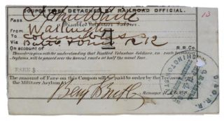 "Railroad Ticket Signed for a ""Disabled Volunteer Soldier to Travel"""