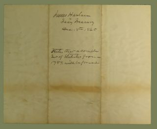 Complying with a Request for a Complete Set of the Laws of the United States, from March 4, 1789 to the close of the 38th Congress, in a Manuscript Letter