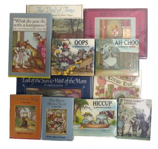 The Bird of Time, Terrible Troll, Boy, Was I Mad, Frog Goes to Dinner, What Do You Do With A Kangaroo?, Ah-Choo, Oops, Hiccup, Two Moral Tales, Two More Moral Tales, The Great Cat Chase; 11 Titles, 5 Inscribed, 6 Signed. Mercer Mayer.
