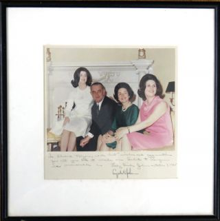 Autograph Note Inscribed on Johnson Family Photo. Lyndon B. Johnson, Lady Bird Johnson