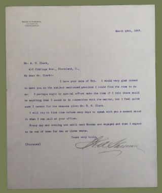 Typed Letter Signed. Henry A. Sherwin.
