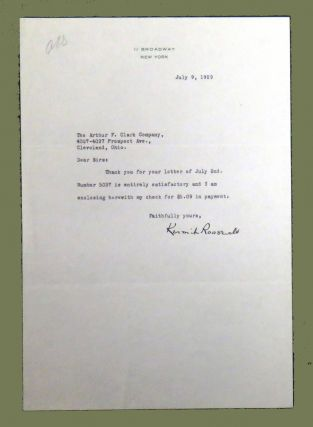 Typed Note Signed from Roosevelt to the Arthur Clark Company. Kermit Roosevelt.