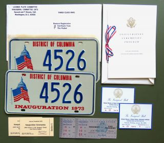Archive of 1973 Inaugural Ephemera; Souvenir Invitation, Tickets to Inaugural Events, Inaugural...