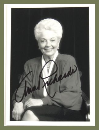 Photograph Signed. Ann Richards.