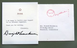Typed Note Signed. Dwight Eisenhower