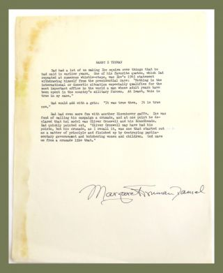 Typed Page Signed. Margaret Truman Daniel.
