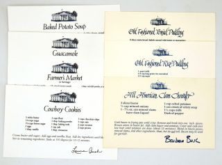 White House Recipe Cards; First Lady Ephemera. Barbara Bush, Laura Bush