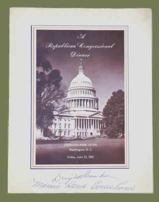 Dual Signed 1962 Republican Congressional Dinner Program. Dwight D. Eisenhower, Mamie Doud