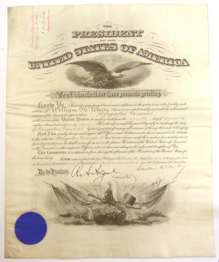 Engraved Document Singed; Appointment of Civil War Medal of Honor Winner to Brigadier General....