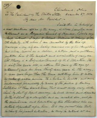 Engraved Document Singed; Appointment of Civil War Medal of Honor Winner to Brigadier General