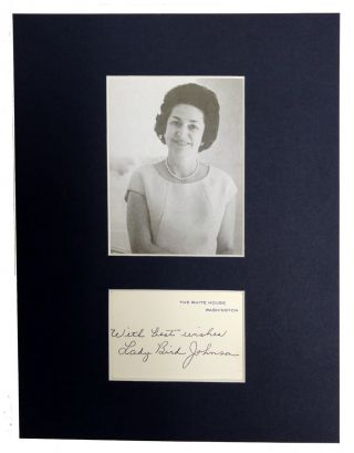 Reception Card Signed. Lady Bird Johnson.