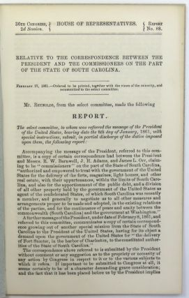 Civil War Union Documents; Lincoln Meets with South Carolina Commissioners Re: Charleston & Fort Sumter