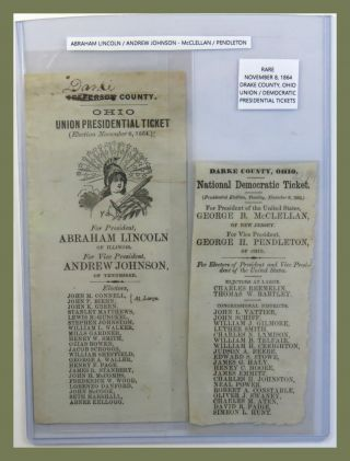 1864 Presidential Ticket. Abraham Lincoln.