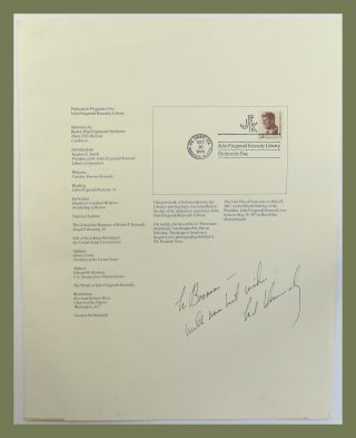 John Fitzgerald Kennedy Library, (with associated ephemera). John F. Kennedy, Ted Kennedy.