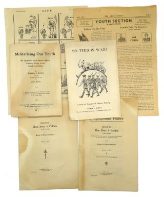 Archive of WWII Anti-War Efforts; 9 Printed Items of Ephemera and 100 Pages of Autograph Draft...