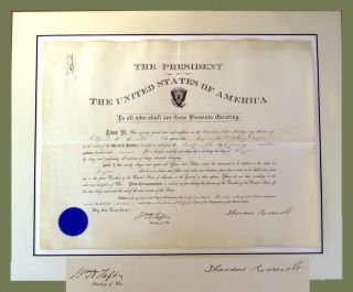 Presidential Military Commission; Signed By Two Presidents. Theodore Roosevelt, William H. Taft