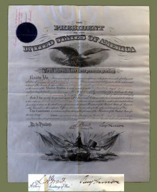 Signed Presidential Military Commission. Benjamin Harrison