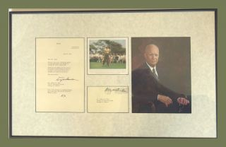 TLS, Photograph (2), Franked Envelope Framed. Dwight Eisenhower.