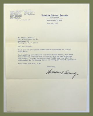 Typed Letter Signed. Herman E. Talmadge.