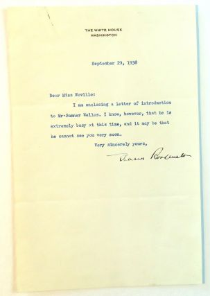 Typed Letter Signed with Secretarial Copy. Eleanor Roosevelt