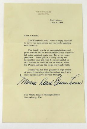Typed Note Boldly Signed. Mamie Daud Eisenhower