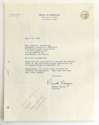 Typed Letter Signed as Governor of California; Including 3-Ring Planning Binder for 1969 Parliamentarians. Ronald Reagan.