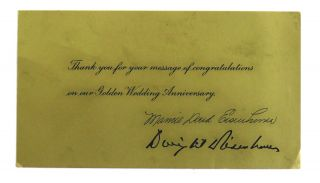 Thank You Card Signed. Dwight and Mamie Eisenhower.