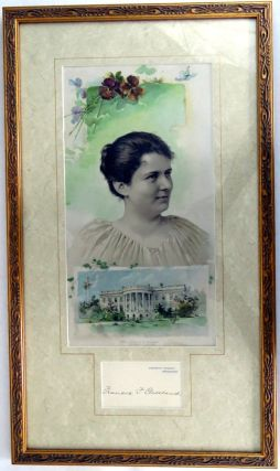Autograph Card; Attractively framed with personal photo and White House. Frances Cleveland.