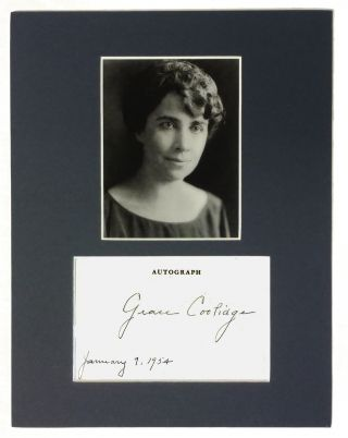 Autographed Card. Grace Coolidge.