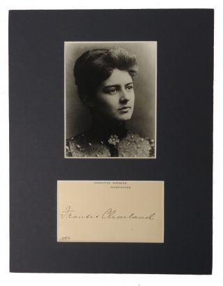 Autograph Card; Attractively framed with personal photo and White House. Frances Cleveland