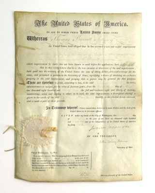 Patent Signed as President and Secretary of State. James Monroe, John Quincy Adams