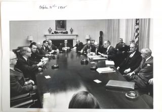Associated Press Photograph of the President And His Cabinet; Subject: Halt in bombing of North...